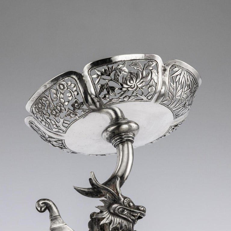 19th Century Chinese Export Solid Silver Dragon Epergne, Hung Chong & Co c 1890 For Sale 10