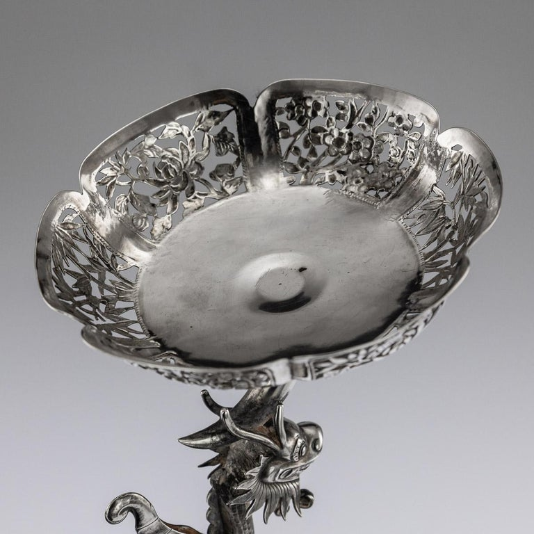 19th Century Chinese Export Solid Silver Dragon Epergne, Hung Chong & Co c 1890 For Sale 11