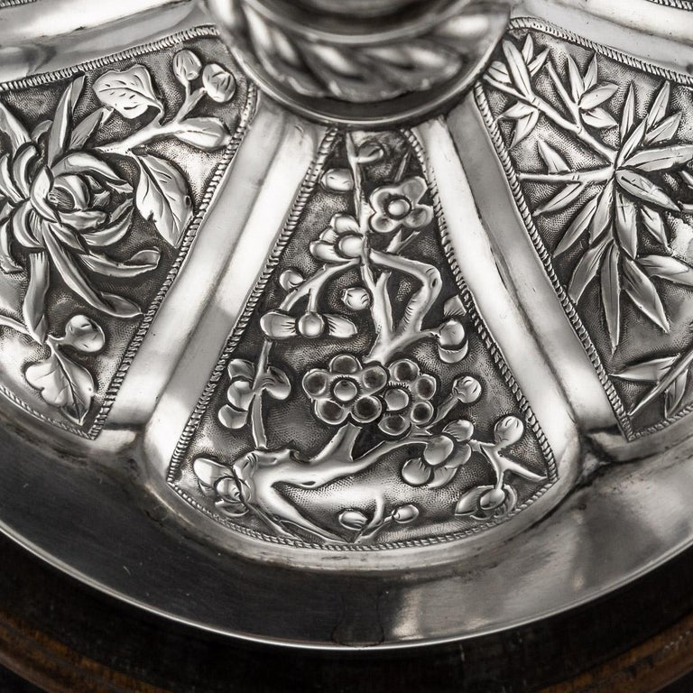 19th Century Chinese Export Solid Silver Dragon Epergne, Hung Chong & Co c 1890 For Sale 13