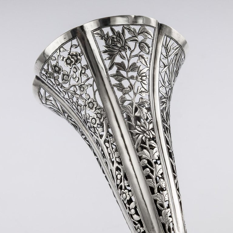 19th Century Chinese Export Solid Silver Dragon Epergne, Hung Chong & Co c 1890 For Sale 5