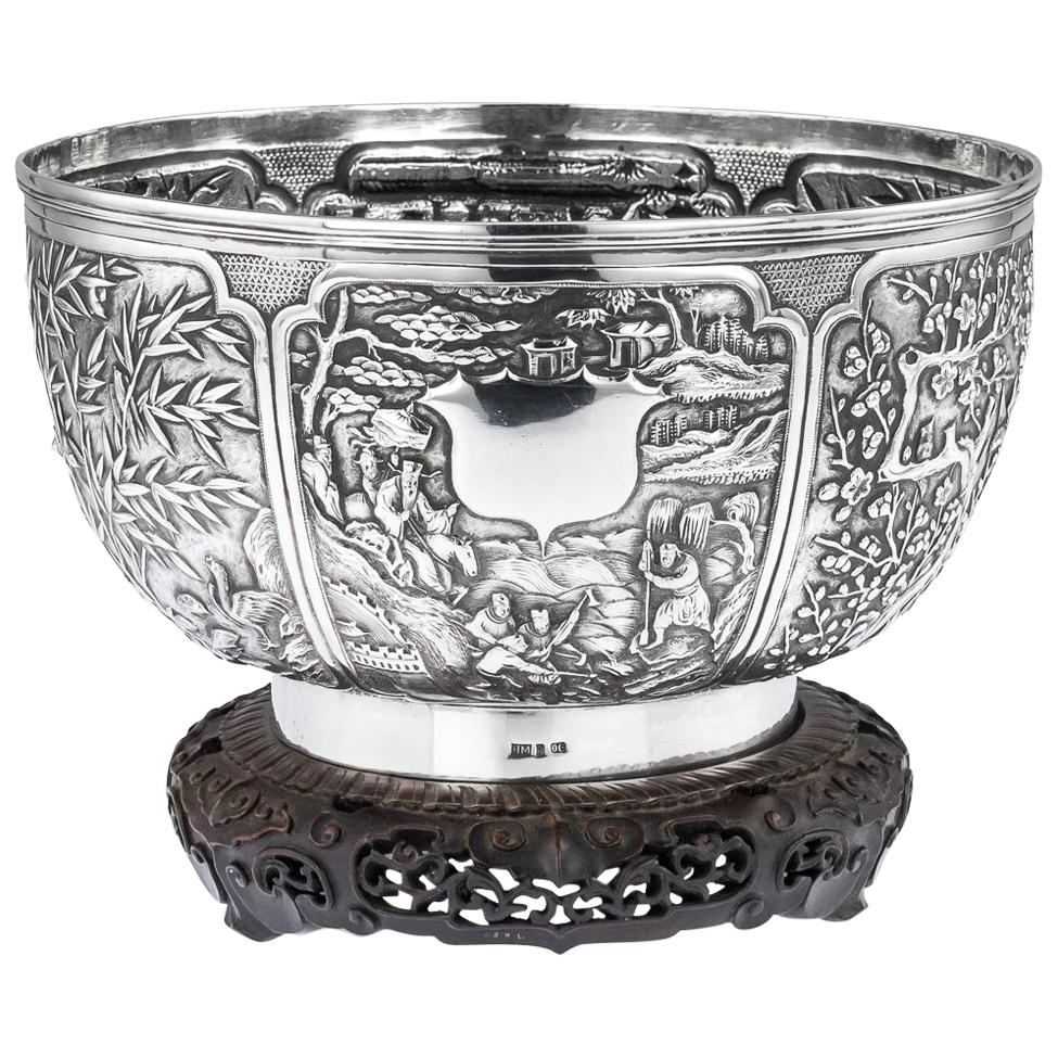 19th Century Chinese Export Solid Silver Fruit Bowl, Wang Hing, circa 1880