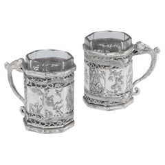19th Century Chinese Export Solid Silver Tea Glass Holders, Shanghai, circa 1880