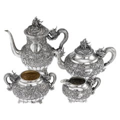 19th Century Chinese Export Solid Silver Tea Set, Woshing, Shanghai, c.1890