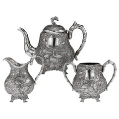 19th Century Chinese Export Solid Silver Tea Set, Woshing, Shanghai, circa 1890