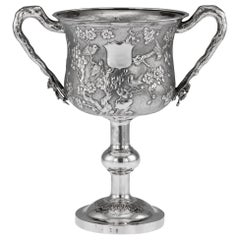 19th Century Chinese Export Solid Silver Trophy Cup, Woshing Shanghai circa 1890