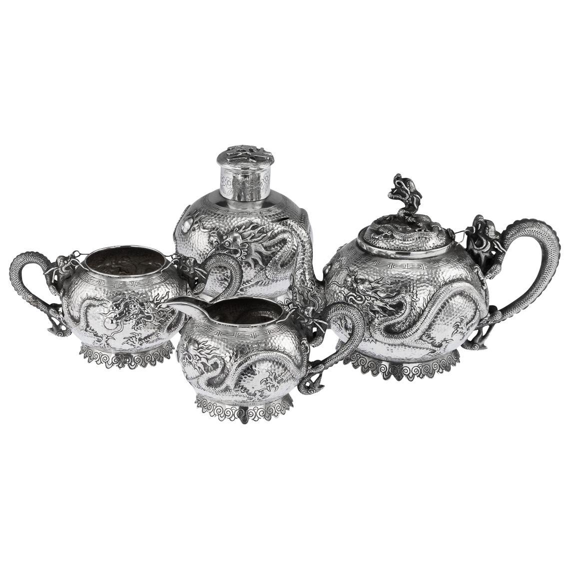 19th Century Chinese Export Tu Mao Xing Solid Silver Dragon Tea Set, circa 1890