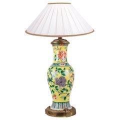 19th Century Chinese Famille Jaune Vase / Lamp, circa 1880