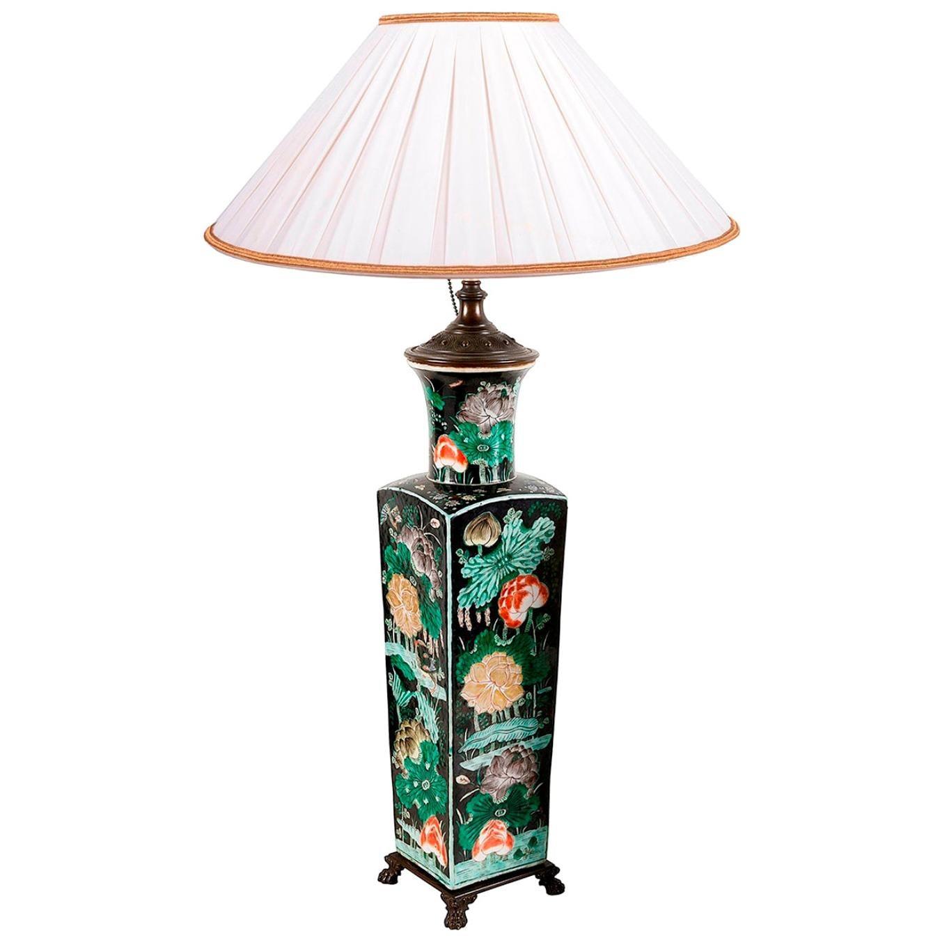 19th Century Chinese Famille Noire Porcelain Vase / Lamp