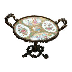19th Century Chinese Famille Rose Canton Porcelain Dish and Bronze Centrepiece