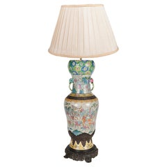 19th Century Chinese Famille Rose Crackleware Vase / Lamp