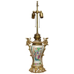 19th Century Chinese Famille Rose Gilt Metal Mounted Vase as Table Lamp