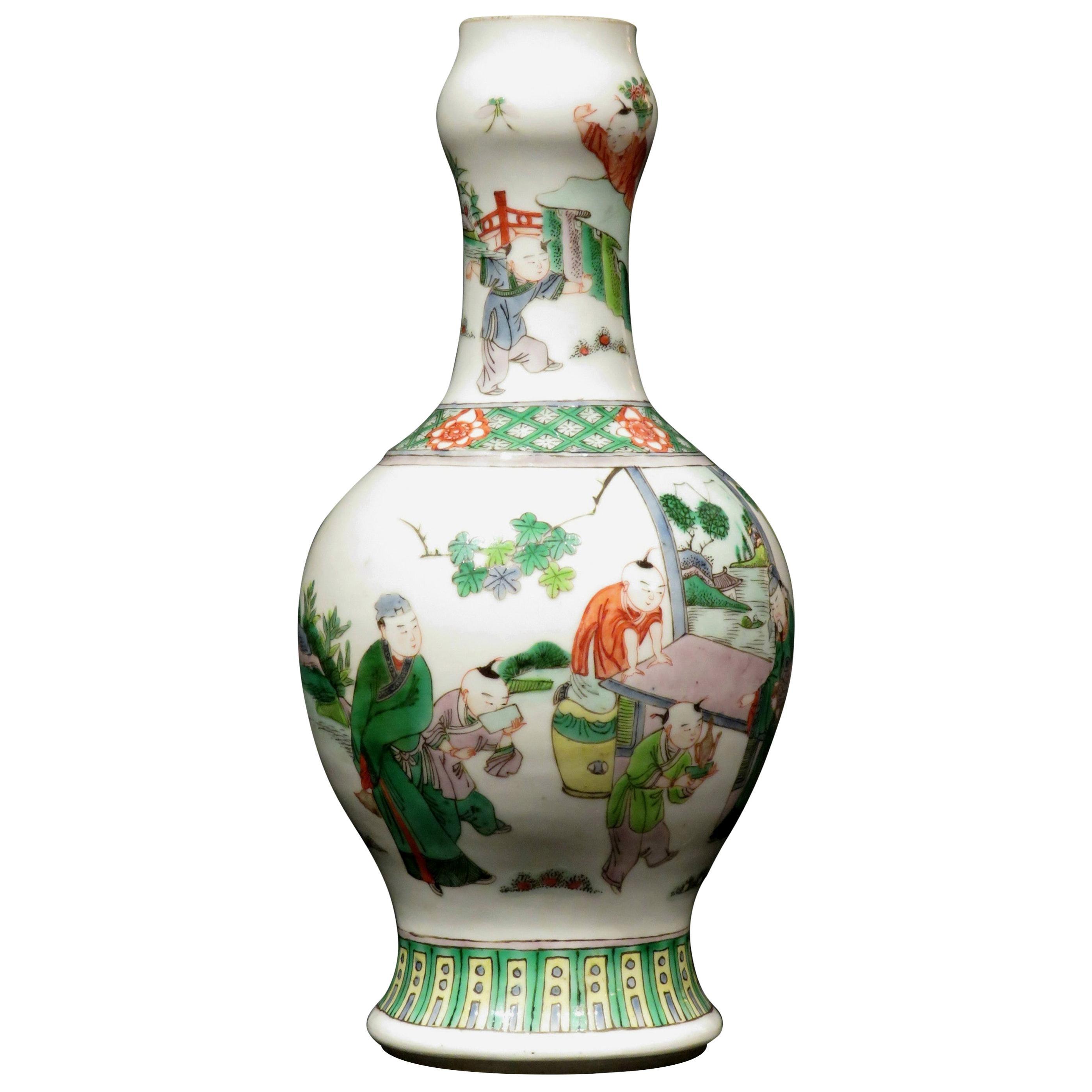 19th Century Chinese Famille Verte Porcelain Garlic Mouth Vase, Kangxi Marks
