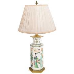 19th Century Chinese Famille Verte Style Vase / Lamp