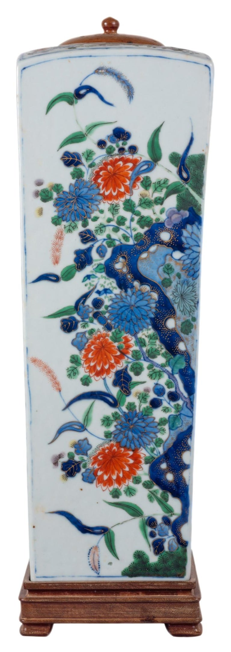 Chinese Export 19th Century Chinese Famille Verte Vase or Lamp, circa 1880 For Sale