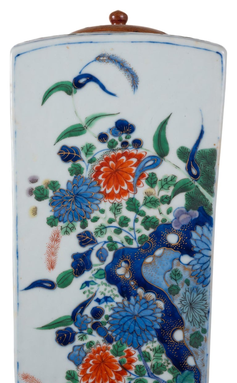 Porcelain 19th Century Chinese Famille Verte Vase or Lamp, circa 1880 For Sale