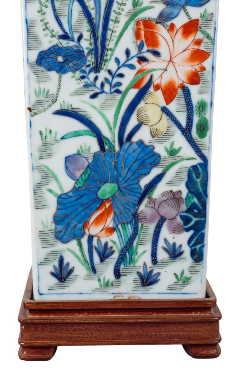 19th Century Chinese Famille Verte Vase or Lamp, circa 1880 For Sale 2