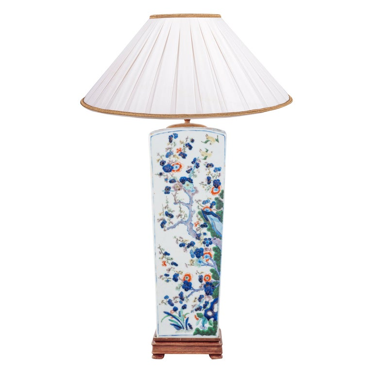 19th Century Chinese Famille Verte Vase or Lamp, circa 1880 For Sale