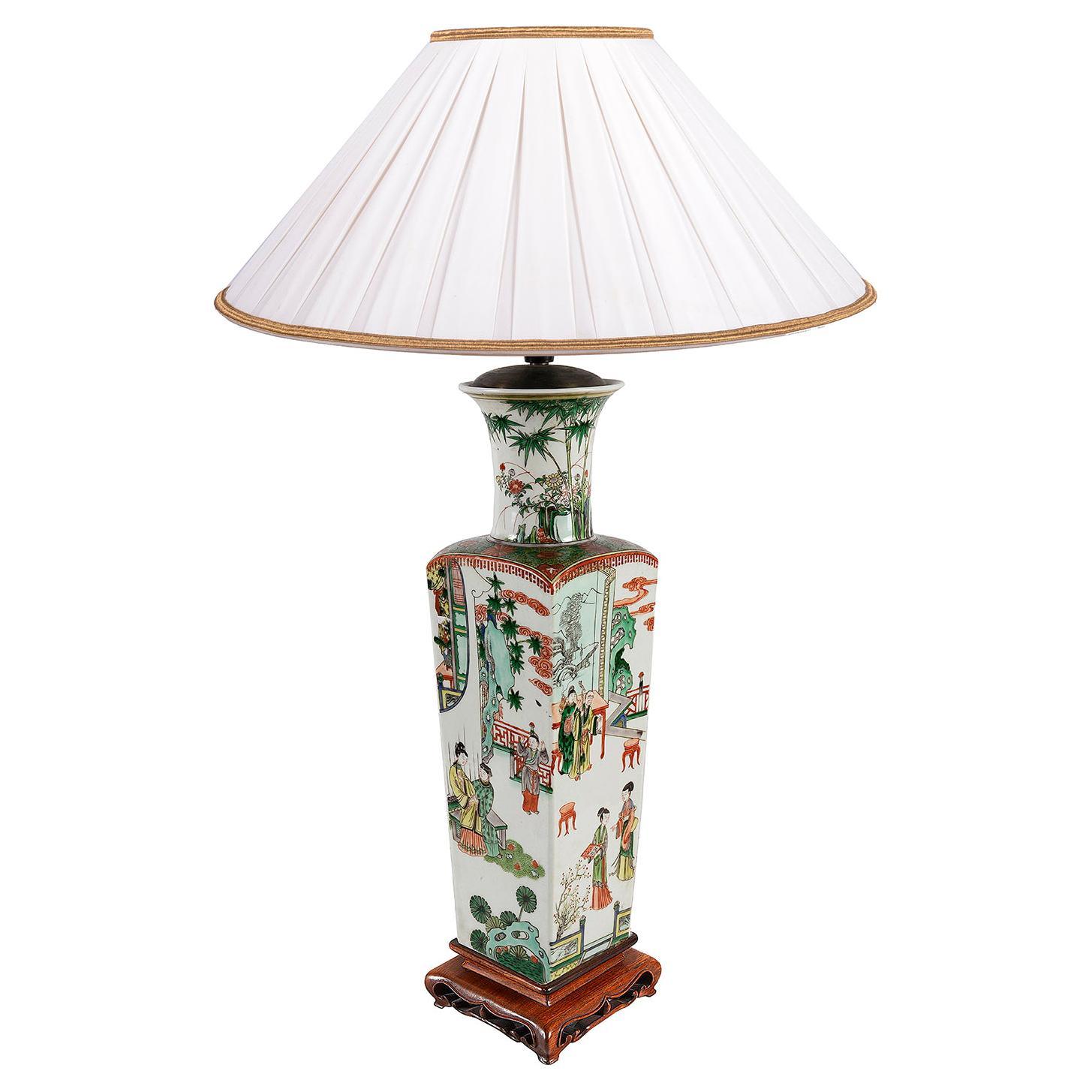 19th Century Chinese Famille Verte Vase / Lamp