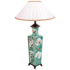 19th Century Chinese Famille Verte Vase or Lamp