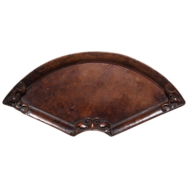 19th Century Chinese Fan Form Bat Tray For Sale