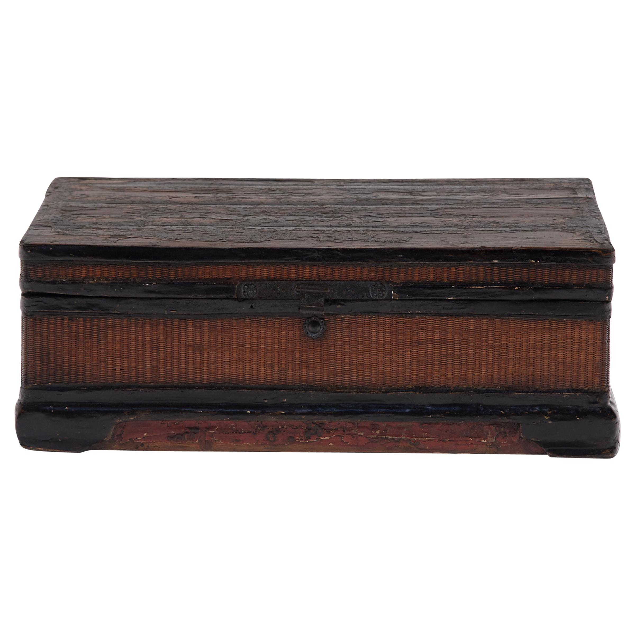 19th Century Chinese Finely Woven Lacquered Trunk