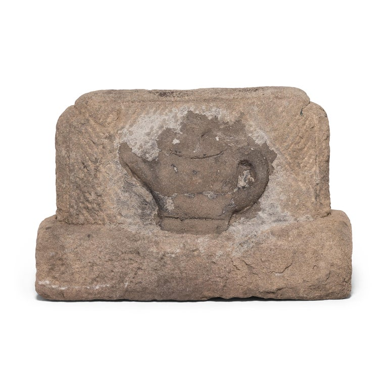 Limestone 19th Century Chinese Fire Stone with Ox and Teapot For Sale