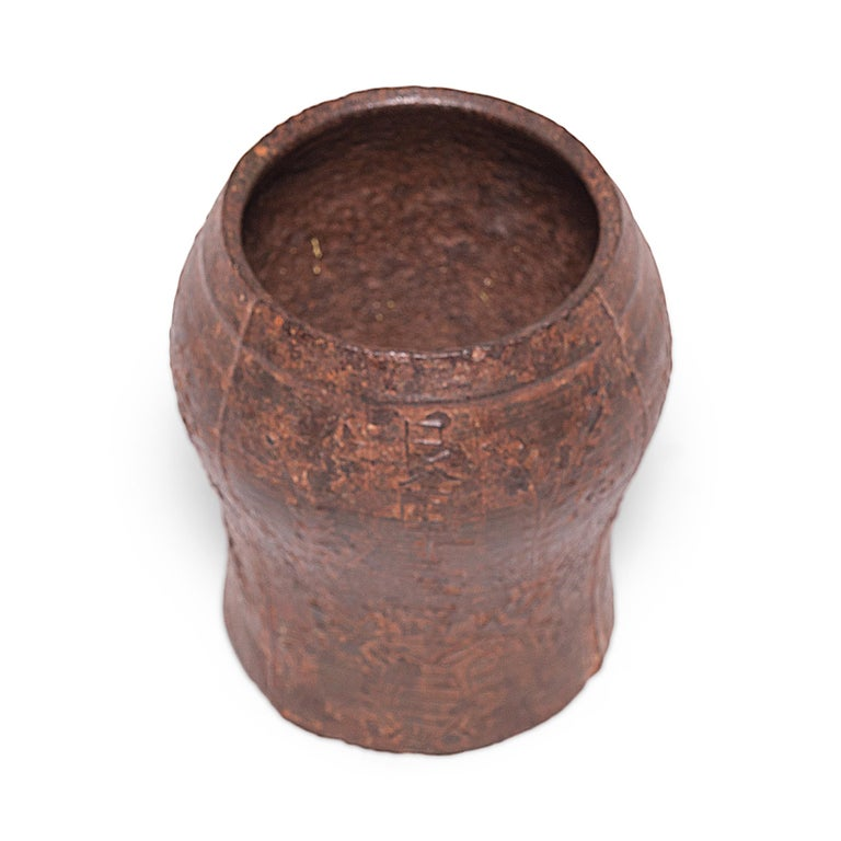 19th Century Chinese Floral Cast Iron Mortar For Sale 2