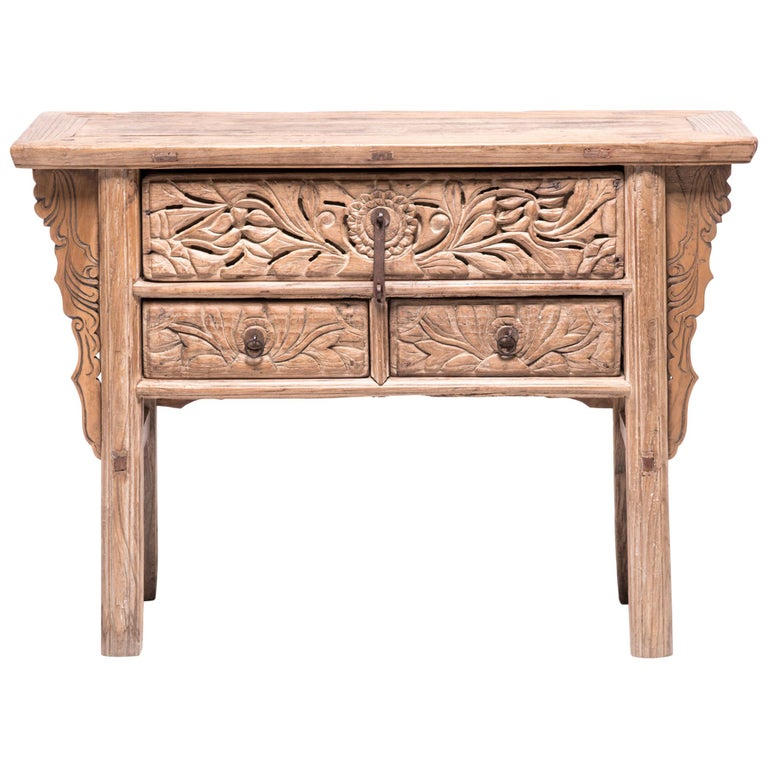 19th Century Chinese Floral Console Table For Sale