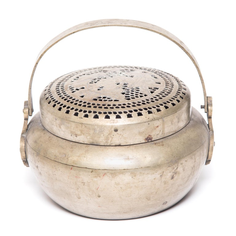 Qing 19th Century Chinese Floral Incised Brass Brazier For Sale