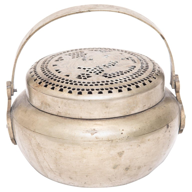 19th Century Chinese Floral Incised Brass Brazier For Sale
