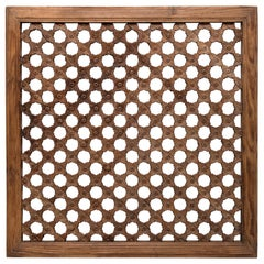 19th Century Chinese Floral Lattice Window Panel