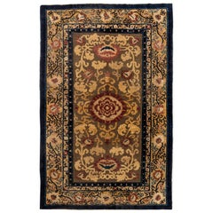 19th Century Chinese Floral Metal and Silk Thread Rug