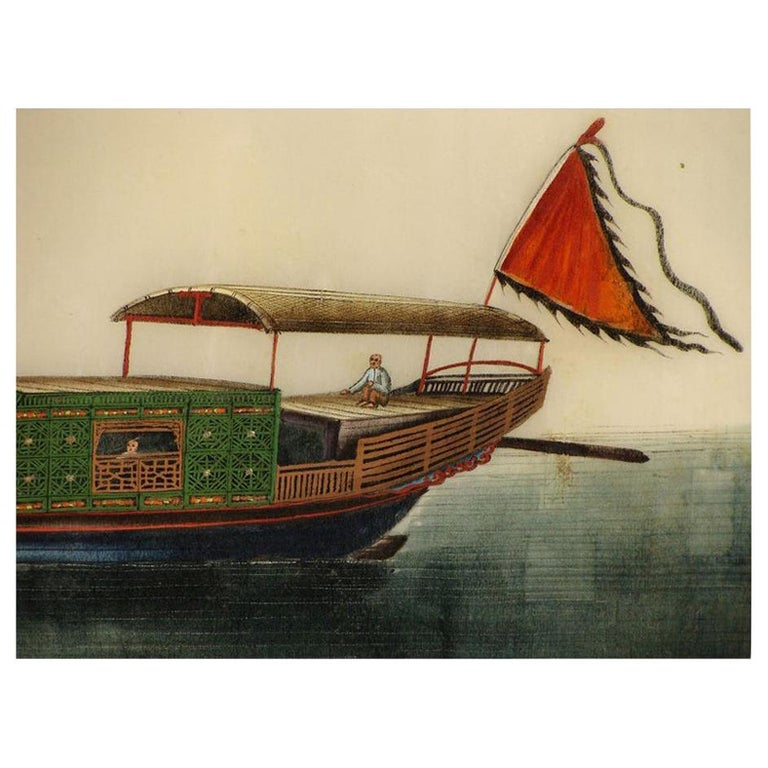 19th Century Chinese Folio Gouache Rice Paper Paintings For Sale