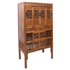 19th Century Chinese Food Cupboard in Elmwood, Qing Dynasty, circa Early 1800s