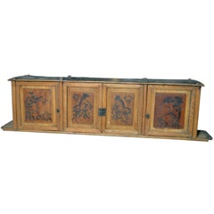 19th Century Chinese Four-Door Low Wooden Cabinet with Hand-Painted Scenes