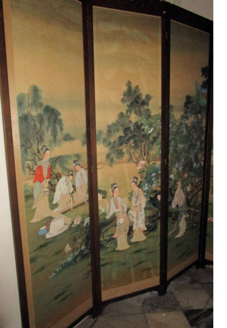19th century Chinese Four-Panel Screen in Teak Wood Frame For Sale 2