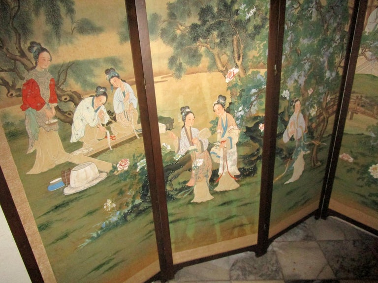 19th century Chinese Four-Panel Screen in Teak Wood Frame For Sale 3