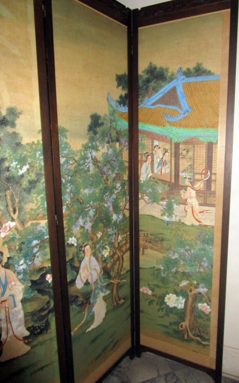19th century Chinese Four-Panel Screen in Teak Wood Frame For Sale 4