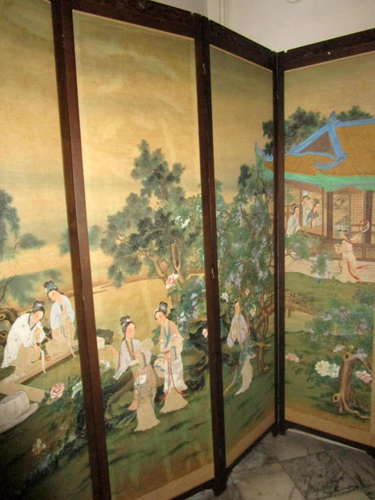 19th century Chinese Four-Panel Screen in Teak Wood Frame For Sale 5