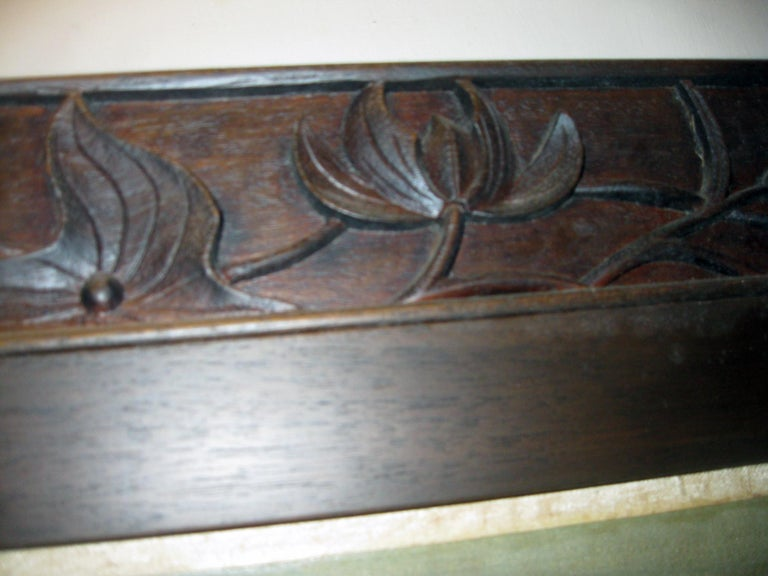 19th century Chinese Four-Panel Screen in Teak Wood Frame For Sale 8