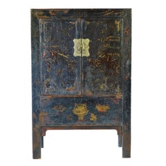 19th Century Chinese Gilt and Black Lacquer Cabinet