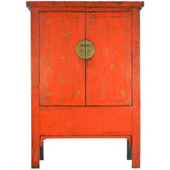 19th Century Chinese Gilt and Red Lacquer Butterfly Cabinet