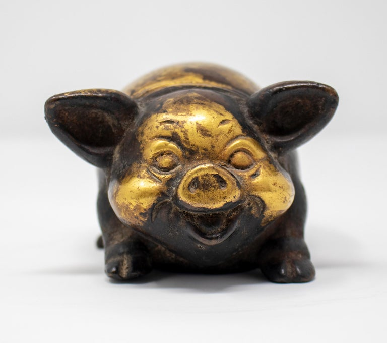 19th century Chinese gilt bronze sculpture of a pig.