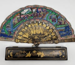 19th Century Chinese Gilt Lacquer Fan with Landscape 100 Faces