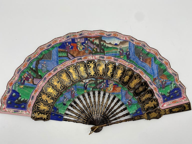 19th Century Chinese Gilt Lacquer Fan with Mother of Pearl Faces and Lacquer Box For Sale 6