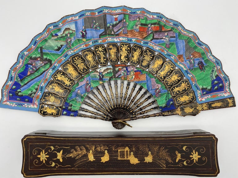 19th Century Chinese Gilt Lacquer Fan with Mother of Pearl Faces and Lacquer Box For Sale