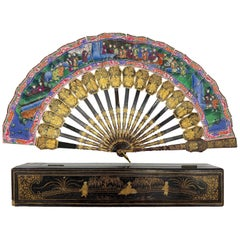 19th Century Chinese Gilt Lacquer Fan with Mother of Pearl Faces and Lacquer Box