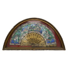 19th Century Chinese Gilt Lacquer Landscape Fan 100 Faces