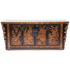 Antique Chinese Gilt Lacquered Avian Coffer