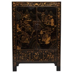 19th Century Chinese Gilt Palace Landscape Cabinet